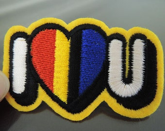 Iron on Patch - I Love You Patch Letter Patches Heart Patch Iron on Applique Embroidered Patch Sewing Patch