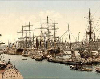Poster, Many Sizes Available; Docks And Shipping, Hamburg, Germany 1890 Photochrom
