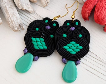 Black Green Soutache Earrings-Retro Boho Earrings-Beaded Dangle Earrings-Black Statement Earrings