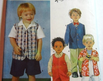 Toddler Boys Shirt, Overalls in Two Lengths and Lined Jacket or Vest Sizes 1/2, 1 2 3 4 Simplicity Pattern 7107 UNCUT