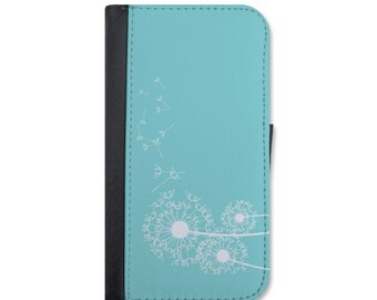 Lovely Dandelions Blowing In The Wind Wallet Case For iPhone 5/5s, 5c, 6/6s, 6/6s Plus, 7, 7 Plus, 8 or 8 Plus.