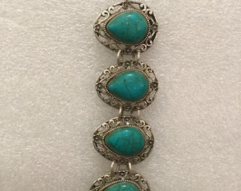 Vintage 70s Turquoise and Silver 8.5 inches Length Bracelet with Scroll design