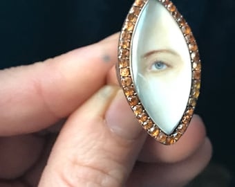Georgian Lover's Eye Ring - Miniature Eye Painting - Paste and Gold Navette Ring