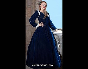 "Renaissance Medieval NAVY Blue Velvet ""Gabriella"" Dress Clothing Bodice Skirt Pearl Detachable sleeves HALLOWEEN COSTUME Madrigals #1"