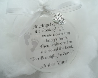 "In Memory Miscarriage Memorial Baby Glass Ornament Custom ""An Angel Opened the Book of Life"" FREE CHARM"