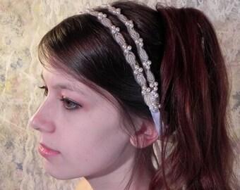 PEARL GRECIAN HEADBAND, Simple Elegance, Wedding Hairpiece, Double Bridal Headband