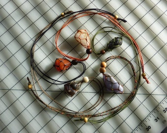 Interchangeable Stone / Healing Crystal Necklace and Adjustable Length Macrame Necklace