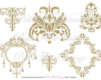 Gold Frame Instant Download PNG & JPEG Victorian Ornate Frames and Gold Ornaments Graphics by PalaisFleurVintage