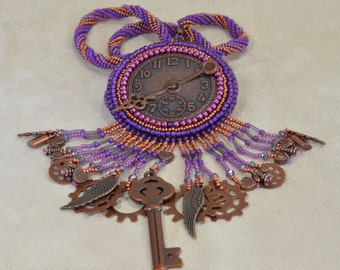 Purple and Copper Steampunk Style Clock Necklace Convertible Brooch