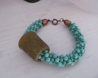Turquoise from the Ocean kumihimo beaded bracelet with sea glass char, price reduced for the holidays!