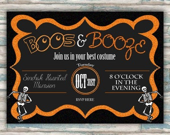 Boos & Booze Invitation - Halloween Party Invite - Costume Party - Printable Invite