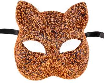 Tigress Mask, Tiger Mask, Tiger Costume, Gatto Cat Costume Masquerade Mask, Mardi Gras Venetian Music Party Ball Mask [Leopard]