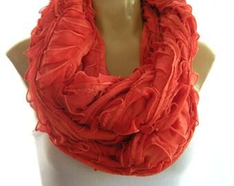 Tangerine Orange  ruffled cowl   Orange infinity scarf  Sophisticated ruffles  Circle loop scarf with ruffles  Tube version