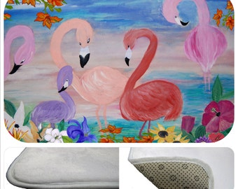 Flamingo garden tropical bathmat from my art