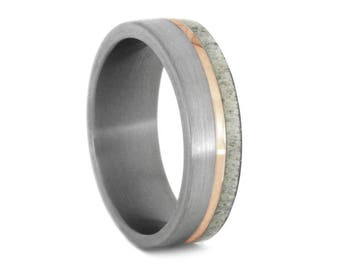 Brushed Titanium Wedding Band, 14k Rose Gold And Deer Antler Ring, Men or Women's Rose Gold Ring