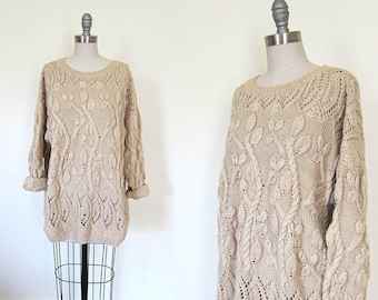 1990s vintage beige coffee cream heavyweight cotton long sleeve knit pullover jumper sweater m l