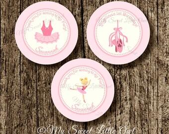 Ballerina Tags  - pink ballerina cupcake topper - Ballerina party - Ballerina label - ballerina thank you tag - ballet printable