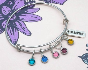 Blessed Family Birthstone bracelet | family jewellery | birthstone family jewellery | family bracelet | gift for mum mom mother | grandma