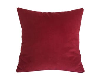 Red Velvet Suede Decorative Throw Pillow Cover / Pillow Case / Cushion Cover / 18x18""