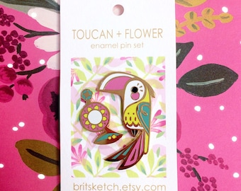 Toucan + Flower Enamel Pin Set
