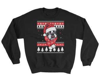 Cute Boston Terrier Ugly Christmas Sweater Funny Dog Gift