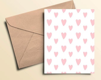 Pink Hearts Valentine Card