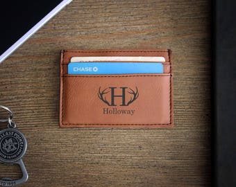 Leather Money Clip, Personalized Money Clip, Leather Wallet, Engraved Money Clip, Groomsmen Gift, Bachelor Party Gifts --LMC-RH-HOLLOWAY