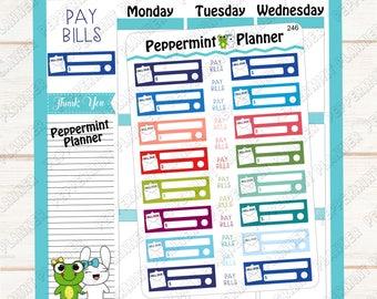 Bill Due --- Planner Sticker --- Tracking --- Reminder --- 246