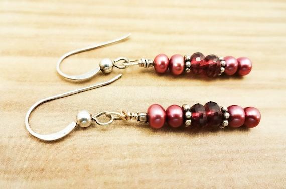 Garnet and Dark Pink Pearl Earrings, January Birthstone