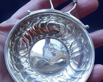 Hallmarked SILVER. Vintage Tastevin or Wine Taster. Snake Handles and Interlocked Hearts on the Bowl; 1978