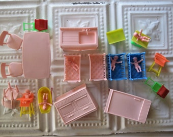 Large Vintage Lot of Plastic Doll House Furniture, Babies, Cribs, High Chairs, Kitchen (25 Pieces)