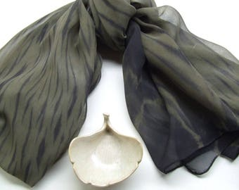 Hand Dyed Large Silk Chiffon Scarf Arashi Shibori Dark Olive Army Green Black Wrap Shawl