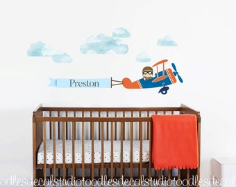 Airplane Wall Decal for boys room, Plane Fabric Decal, Reusable Plane Decal, Aeroplane Decals, Kids Name Art Decal, Kids Pilot Wall Decals