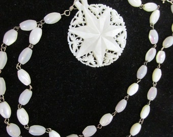 Necklace Star of Bethlehem Mother Of Pearl  Carved Filigree