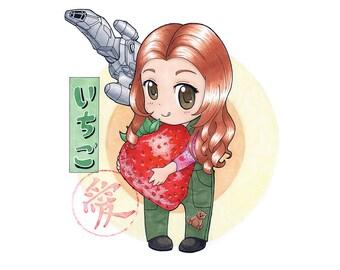Kaylee Firefly Serenity Strawberry Love Chibi Art Print