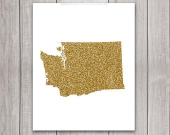 Washington Art - 8x10 Gold Glitter, Washington State, Art Print, Washington Printable Art, State Silhouette, Glitter Print