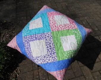 Quillow.Modern Pink Quillow.Quilt. Throw.Patchwork Quillow.Home Decor.Pillow.Bedding.Handmade.Travel Quilt.Cushion.Gift.