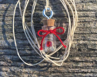 Mini Bottle Necklace, Charm Necklace, Red and White Necklace, Valentines Day Gift, Vial Necklace