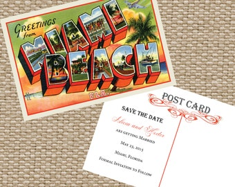 Vintage Post Card Save The Date -- Miami Post Card  -- Save The Date