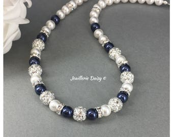 Bridesmaid Necklace Jewelry Set Navy  Necklace Pearl Jewelry Bridesmaid Gift for Her Maid of Honor Jewelry Bridal Jewlery Gift Idea Wedding