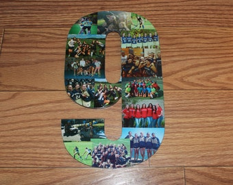 "Personalized Number, Personalized Gift, Home Decor, Wall Hanging Photo Collage, 13"" Wooden Number"