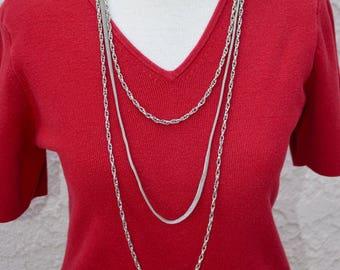 3 Strand Silver Tone Long Necklace Vintage