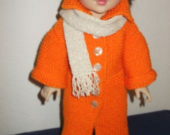 Dolls knitted coat and scarf