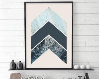 Downloadable Print, Printable Art, Chevrons, Scandinavian Prints, Scandinavian Modern, Affiche Scandinave, Scandinavian Art, Turquoise, Blue