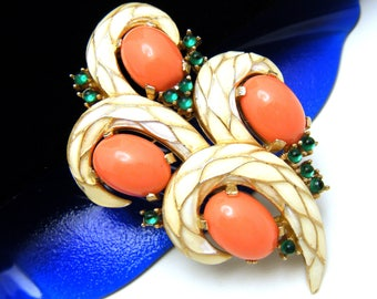 Crown Trifari L'Orient Brooch Coral Lucite Cabochons Enamel Green Glass Cabochons