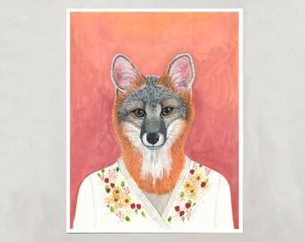 Art Print - Grey Fox - Signed by Artist - 3 Sizes - S/M/L