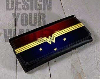 Womens Wallet, Wonder Woman, Bifold wallet, womens leather wallet, checkbook wallet, women's gift, travel wallet. dc comic, inspired artwork