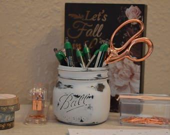White and Gray Distressed Mason Jar- Office Decor, Desk Accessories, Mason Jar Decor