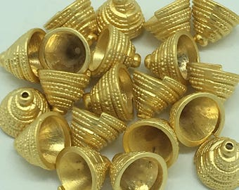22 kT Matte Gold Plated Bead Caps 12x12x12 mm