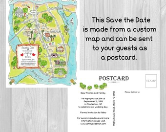 Save the Date Postcards, Add on to Custom Wedding Map